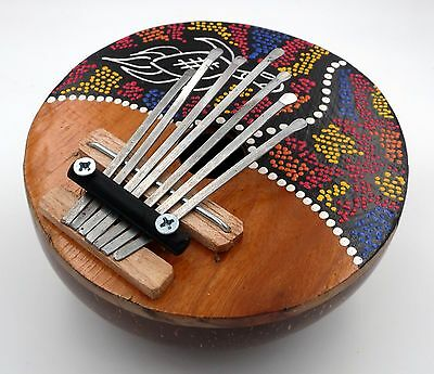 Hand Crafted Coconut and Wood Kalimba Thumb Piano Turtle Design Dot Painting