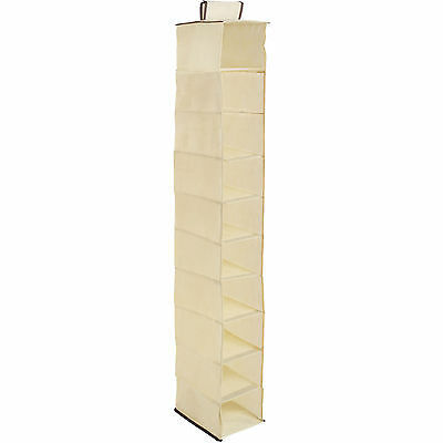 10 Section Cream Wardrobe Hanging Storage Organiser Shoe Clothes Garment Tidy