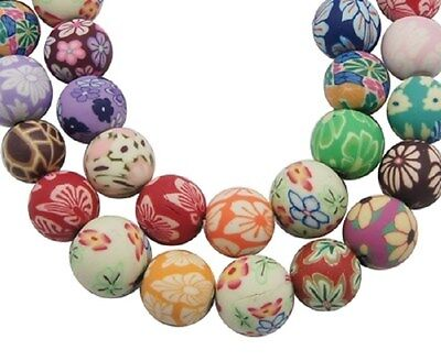 20 x Mixed Large Fimo Polymer Clay Round Beads Flowers 16mm - 18mm - PB104