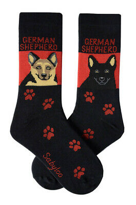 German Shepherd Socks Lightweight Cotton Crew Stretch Egyptian Made