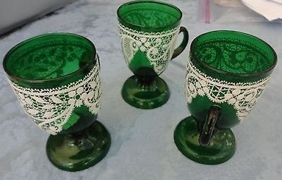 "THREE (3)  ENAMELED WHITE  LACE GREEN FOOTED PUNCH CUPS  4 1/2"" TALL"
