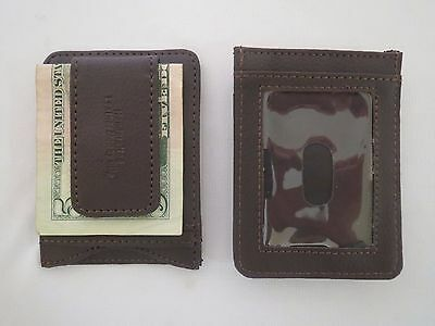 New Men's Genuine Leather Magnetic Money Clip Wallet ID Credit Card Money Holder