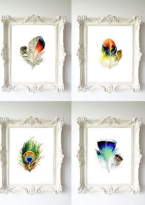 Peacock Feather Art Print watercolor design Decorative Wall Hanging living room