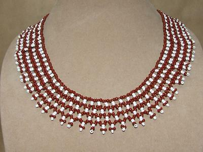 Vintage Tribal Woven Red & White Glass Seed Bead Fringe Bib Collar Necklace 20""