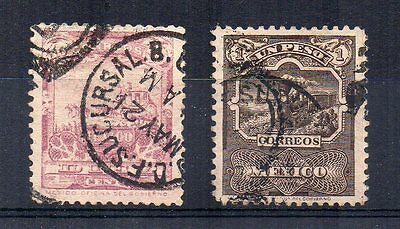 Mexico 1898 10c and 1p definitives FU CDS