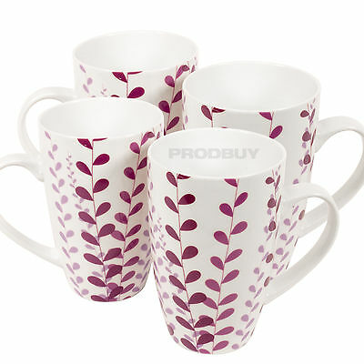 Set of 4 Jasmine White Purple Tall Latte Coffee Tea Hot Chocolate Mugs Cups
