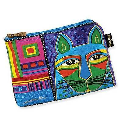 New LAUREL BURCH Cosmetic Bag WHISKERED CAT Feline Kitten Face Purse BLUE GREEN