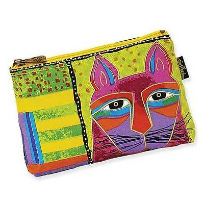 New LAUREL BURCH Cosmetic Bag WHISKERED CAT Feline Kitten Face Purse LIME GREEN