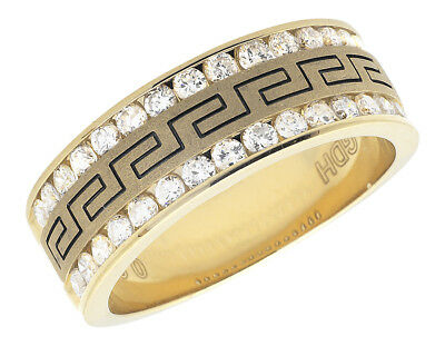 14k Yellow Gold Greek Key Diamonds .99ct Carbon Fiber Mens Wedding Rind Band
