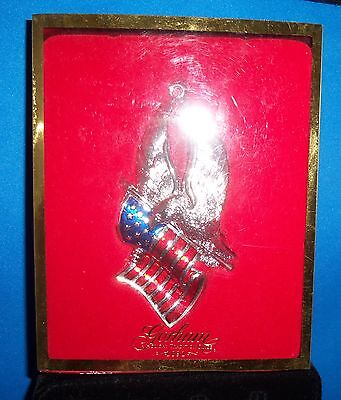 Gorham Eagle Of Liberty Red White Blue Silverplate Enamel Limited Edition NIB