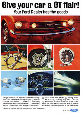 Ford Mustang Gt Retro Poster A3 Print From 60's Advert 1966