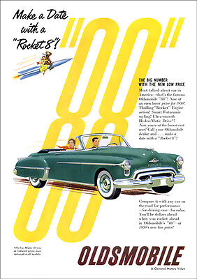 Oldsmobile 88 Convertible Retro A3 Poster Print From Advert 1950