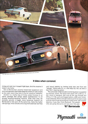 Plymouth Sports Baracuda 67 Retro A3 Poster Print From Advert 1967