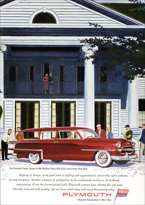 Plymouth Savoy Station Wagon 53 Mopar Retro A3 Poster Print From Advert 1953