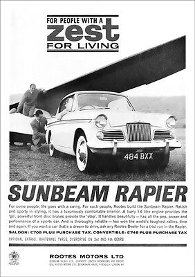 Sunbeam Rapier Coupe Retro A3 Poster Print From 1962 Advert