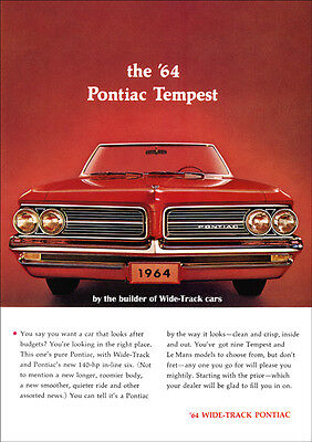 Pontiac 64 Tempest Convertible Retro A3 Poster Print From Advert 1964