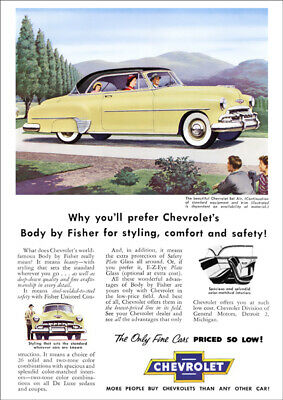 Chevrolet 52 Bel Air Retro A3 Poster Print From Classic Advert 1952