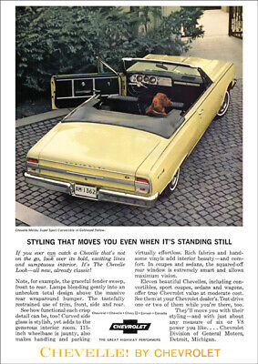 Chevrolet 64 Chevelle Ss Convertible Retro A3 Poster Print From Advert 1964