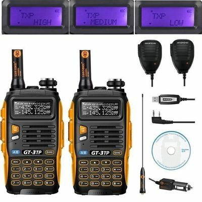 2x Baofeng GT-3TP 8W 2m/70cm Band V/UHF Ham Two-way Radio +2*Speaker & 1* Cable