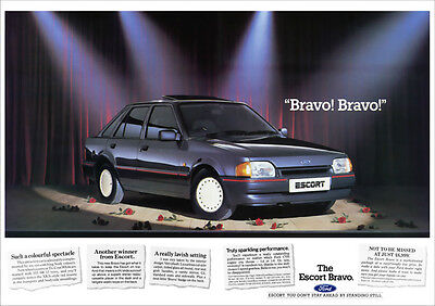 FORD ESCORT 1.4 1.6 BRAVO MK 4 RETRO A3 POSTER PRINT FROM CLASSIC 80's ADVERT