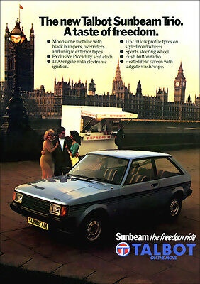 TALBOT SUNBEAM TRIO LTD EDITION RETRO A3 POSTER PRINT FROM CLASSIC 80's ADVERT