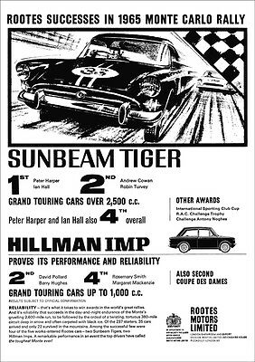 SUNBEAM TIGER V8 RETRO A3 POSTER PRINT FROM CLASSIC 60's ADVERT