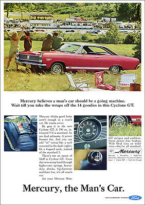 Mercury Cyclone Gt 67 Retro A3 Poster Print From Advert 1967