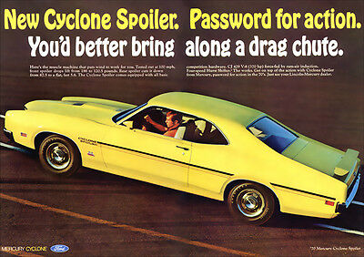 Mercury Cyclone Spoiler 1970 Retro A3 Poster Print From Advert 1970