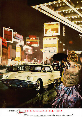 Ford Thunderbird 59 Retro A3 Poster Print From Advert 1959