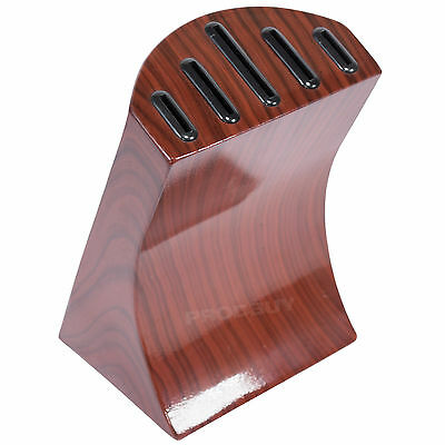 Kitchen Knife Block Metal Mahogany Wooden Style Universal Storage Holds 5 Knives