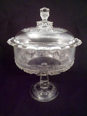 Large Antique EAPG Covered Compote, Over 5 Lbs, Circa 1880's