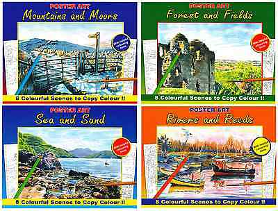 Set 4 Adult Colouring Books Sea, Fields, Rivers, Mountains, Pencil Pens 3110New