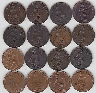 16 x FARTHINGS 1902-1934 IN A HIGH GRADE