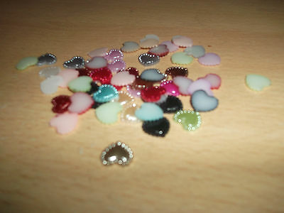 40 Flat Back Pearl Heart Lined Beads 10mm Various Colours On Listing