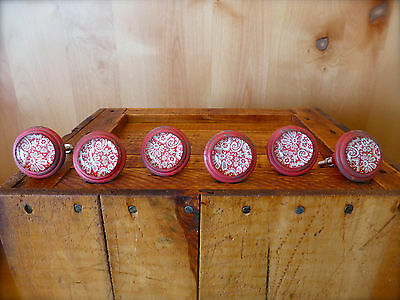 6 RED-WHITE LACE GLASS DRAWER CABINET PULLS KNOBS VINTAGE restoration hardware