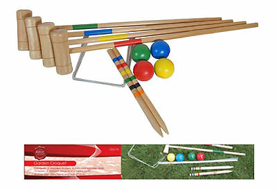 Traditional Wooden Garden Croquet Game Outside Toy 4 Players