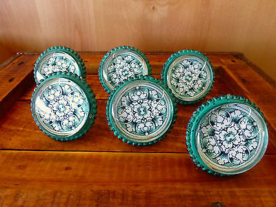 6 LG GREEN GLASS FLORAL VINTAGE DRAWER CABINET PULLS KNOBS shabby chic hardware