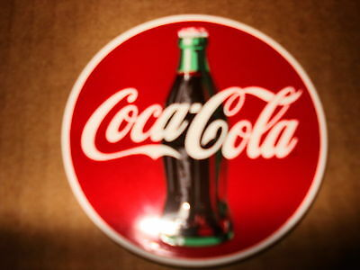 """Coca-Cola """"with Bottle""""  3"""" Round New Porcelain Magnet"""