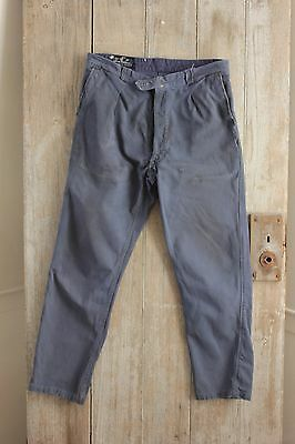 Vintage French travaille bleus Workwear denim blue pants work wear  trousers