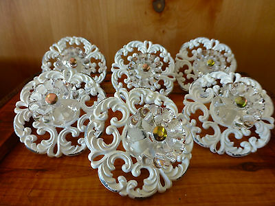 6 WHITE VICTORIAN DRAWER PULLS HANDLES KNOBS vintage restoration hardware chic