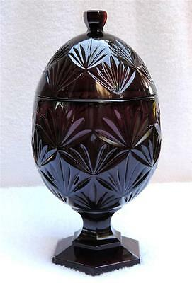 "NM DURAND LUMINARC ARQUES FRANCE DARK RUBY RED GLASS 8.5"" EGG CANDY DISH"
