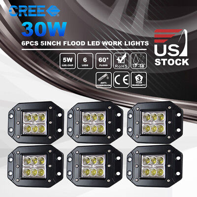 6x 5inch 30W Flood LED Work Light Driving Lights Flush Mount for Jeep Offroad