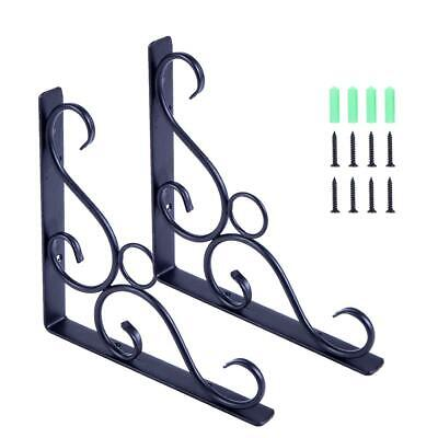 2pcs Cast Iron Antique Style Shelf Brackets Wall Mounted Shelf Brackets Black
