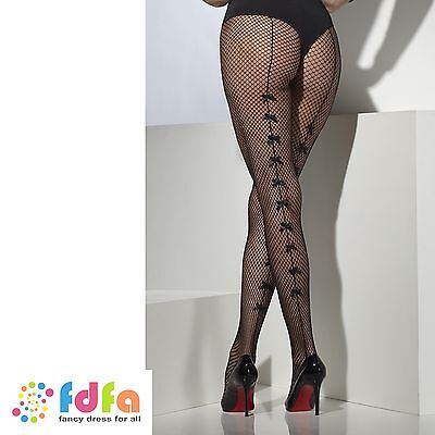 BLACK FISHNET TIGHTS PANTYHOSE WITH SATIN BOWS ladies accessory womens hosiery