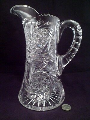 Antique American Brilliant Period Cut Crystal Pitcher, Jug, Over 4 1/2 Lbs