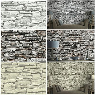 Moroccan Wall Natural Slate Stone Wallpaper By Arthouse Grey Natural White