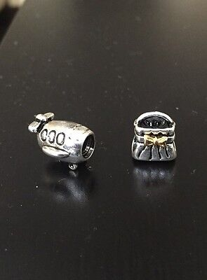 PANDORA SILVER CHARM BEAD Airplane vacation travel Ale 925 And Bow Purse 14k