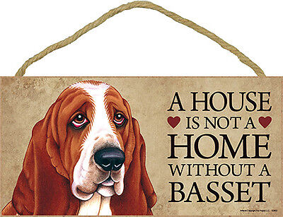 Basset Hound Wood Dog Sign Wall Plaque Photo Display 5 x 10 – House Is Not A ...