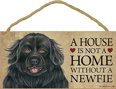 Newfoundland Indoor Dog Breed Sign Plaque – A House Is Not A Home + Bonus Coa...