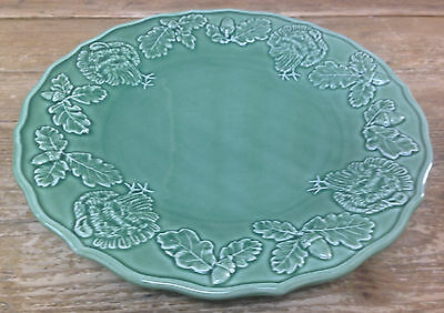 "Bordallo Pinheiro Green Turkey Dinner Plate Pottery Majolica Portugal 11"" Lovely"